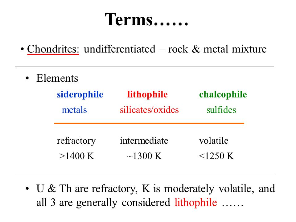 Elements siderophile lithophilechalcophile metalssilicates/oxides sulfides refractoryintermediatevolatile >1400 K ~1300 K<1250 K U & Th are refractory, K is moderately volatile, and all 3 are generally considered lithophile …… Terms…… Chondrites: undifferentiated – rock & metal mixture
