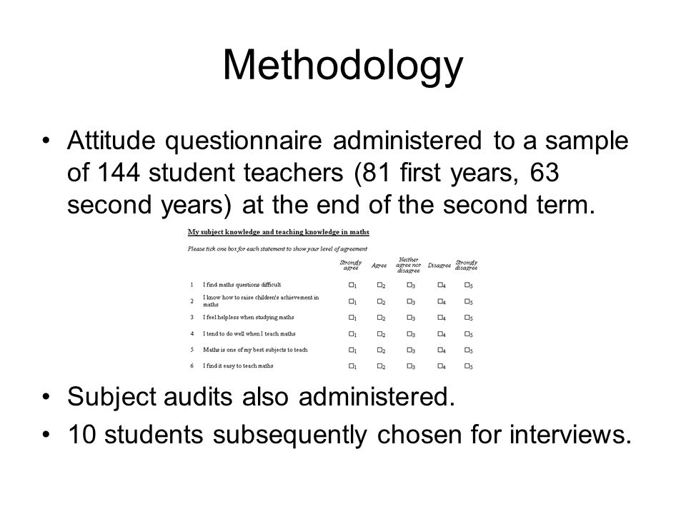 Methodology Attitude questionnaire administered to a sample of 144 student teachers (81 first years, 63 second years) at the end of the second term.