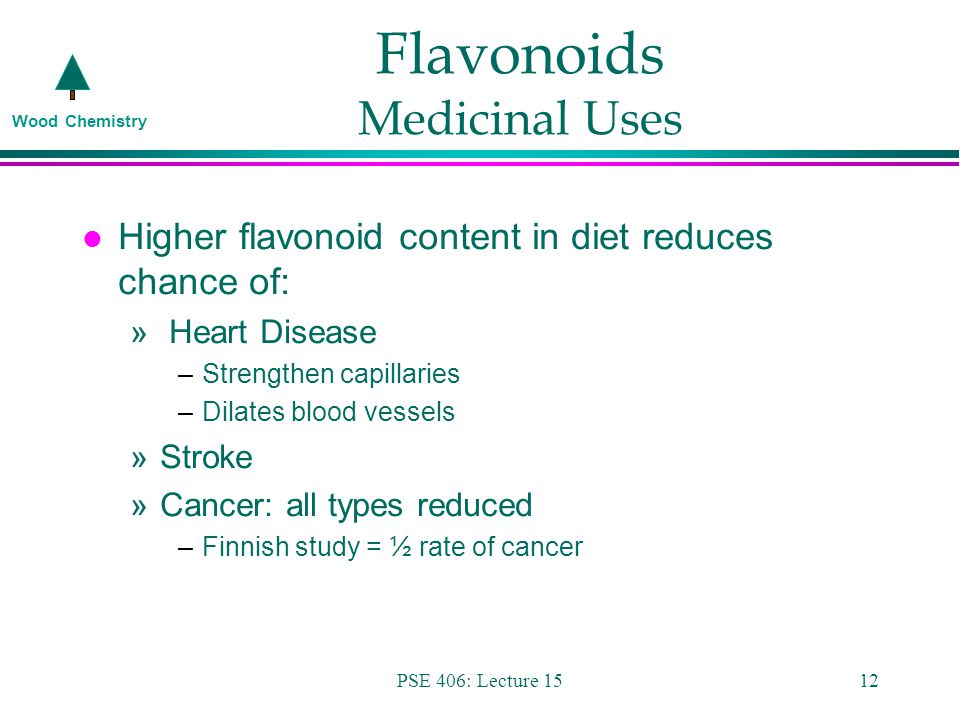 Wood Chemistry PSE 406: Lecture 1512 Flavonoids Medicinal Uses l Higher flavonoid content in diet reduces chance of: » Heart Disease –Strengthen capillaries –Dilates blood vessels »Stroke »Cancer: all types reduced –Finnish study = ½ rate of cancer