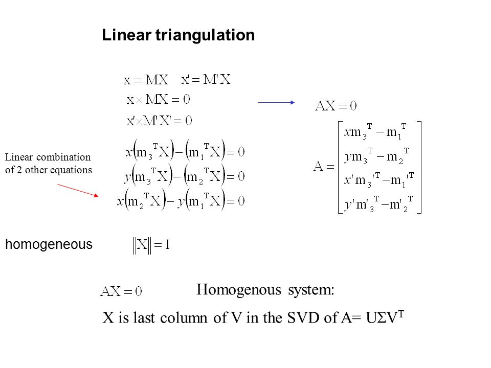 Linear triangulation homogeneous Linear combination of 2 other equations Homogenous system: X is last column of V in the SVD of A= U  V 