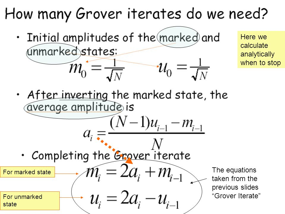 Here we calculate analytically when to stop The equations taken from the previous slides Grover Iterate For marked state For unmarked state