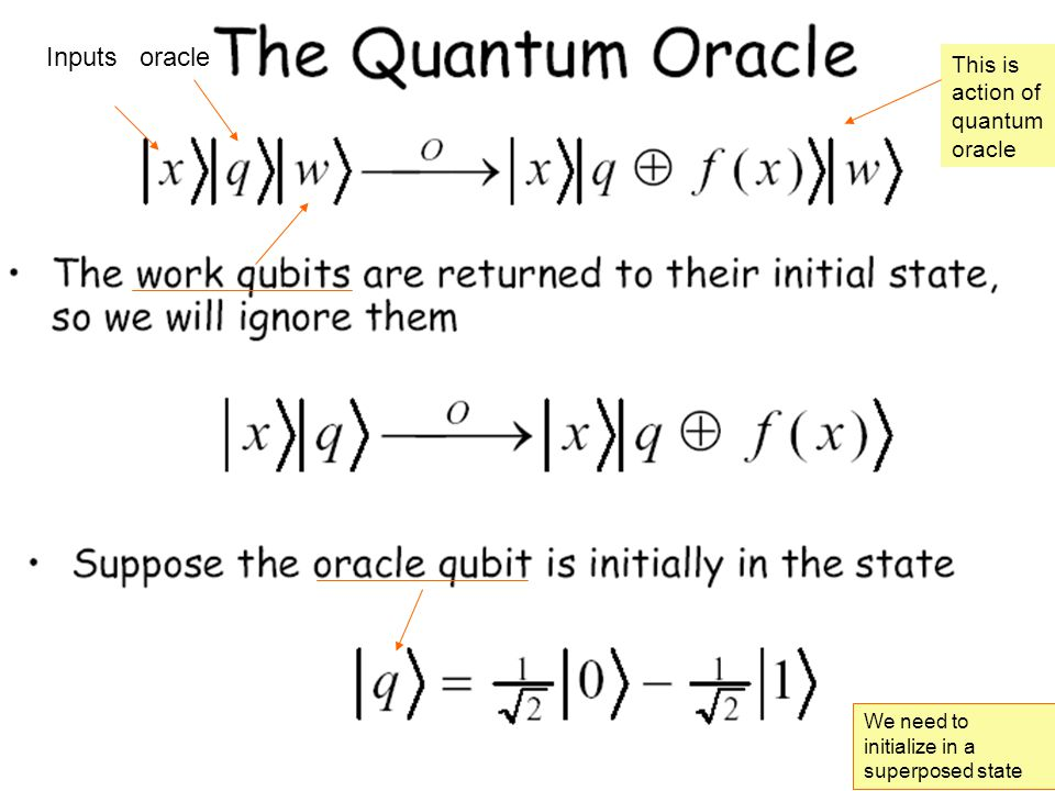 Inputs oracle We need to initialize in a superposed state This is action of quantum oracle