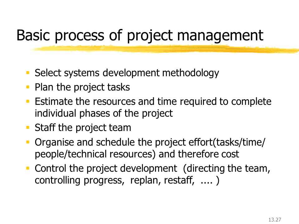 13.27 Basic process of project management  Select systems development methodology  Plan the project tasks  Estimate the resources and time required to complete individual phases of the project  Staff the project team  Organise and schedule the project effort(tasks/time/ people/technical resources) and therefore cost  Control the project development (directing the team, controlling progress, replan, restaff,....