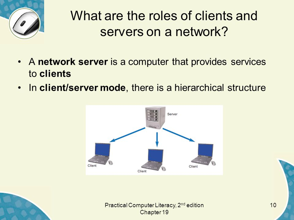 10 What are the roles of clients and servers on a network.