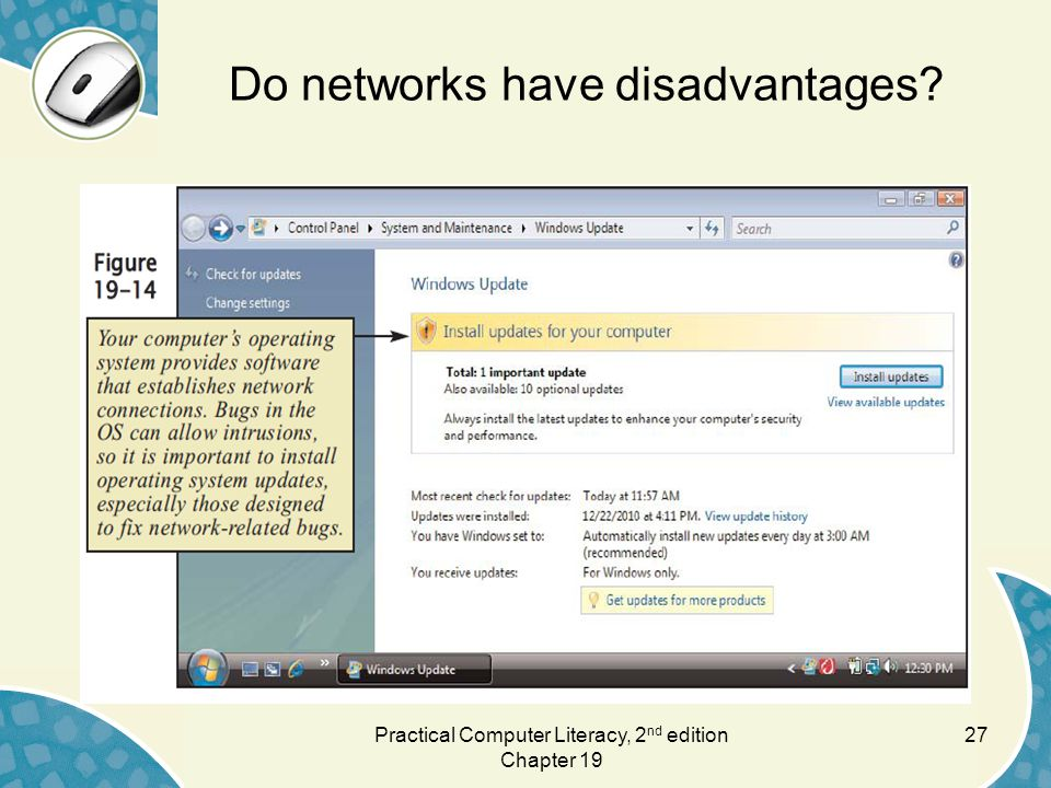 Do networks have disadvantages 27Practical Computer Literacy, 2 nd edition Chapter 19
