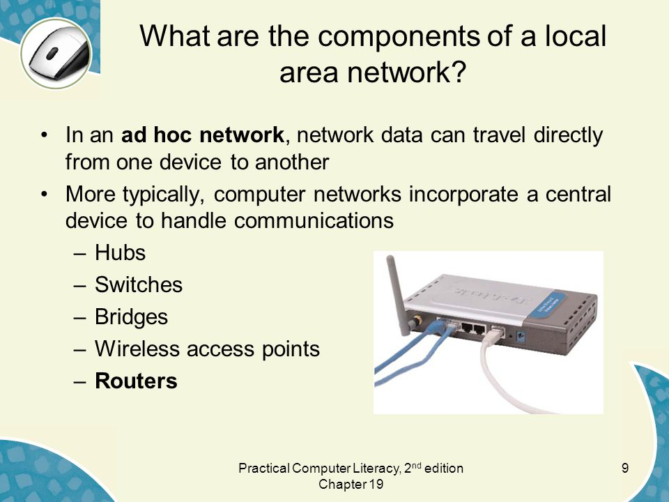 What are the components of a local area network.
