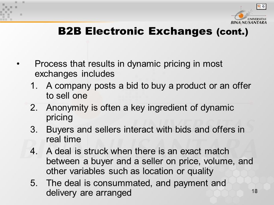 18 B2B Electronic Exchanges (cont.) Process that results in dynamic pricing in most exchanges includes 1.A company posts a bid to buy a product or an offer to sell one 2.Anonymity is often a key ingredient of dynamic pricing 3.Buyers and sellers interact with bids and offers in real time 4.A deal is struck when there is an exact match between a buyer and a seller on price, volume, and other variables such as location or quality 5.The deal is consummated, and payment and delivery are arranged