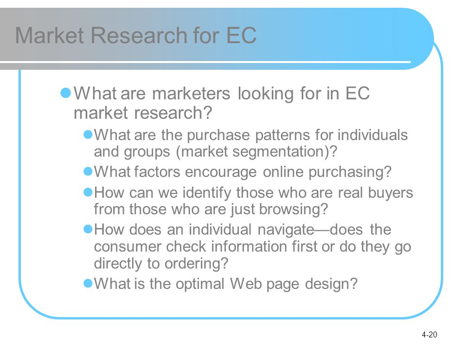 4-20 Market Research for EC What are marketers looking for in EC market research.