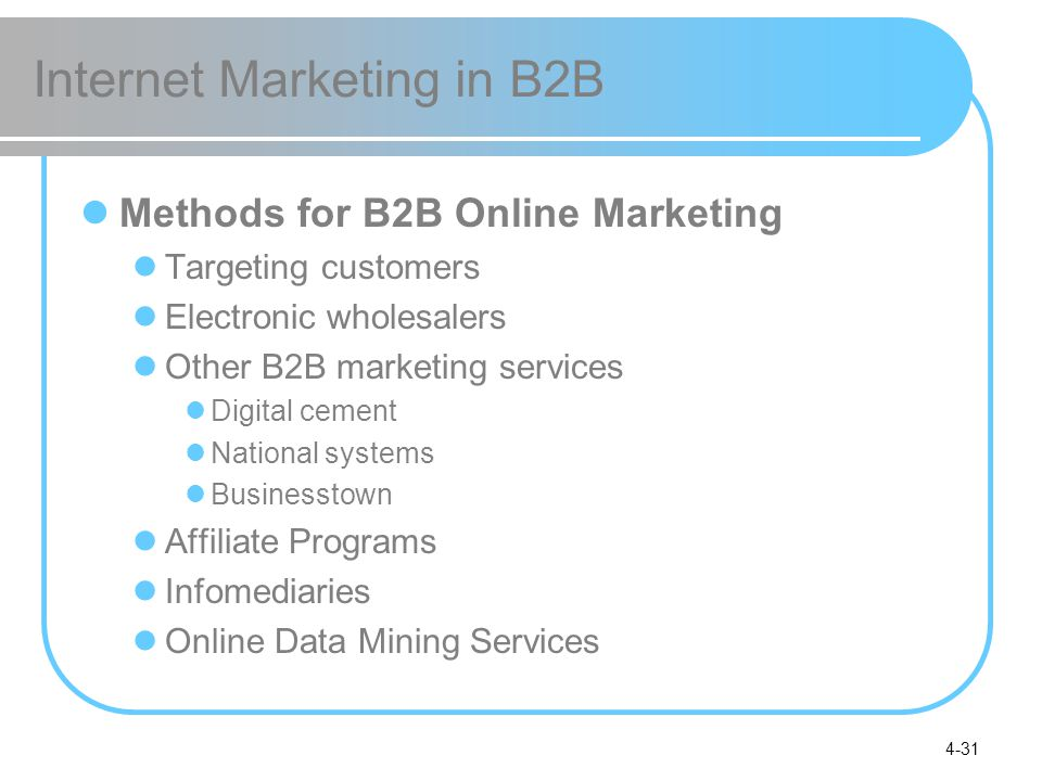 4-31 Internet Marketing in B2B Methods for B2B Online Marketing Targeting customers Electronic wholesalers Other B2B marketing services Digital cement National systems Businesstown Affiliate Programs Infomediaries Online Data Mining Services