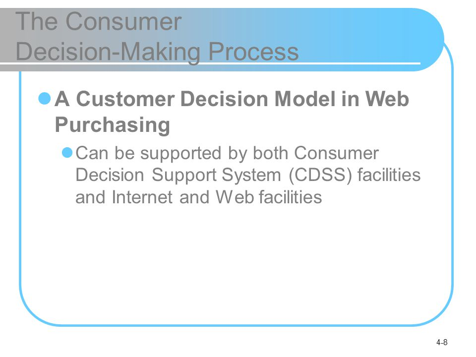 4-8 The Consumer Decision-Making Process A Customer Decision Model in Web Purchasing Can be supported by both Consumer Decision Support System (CDSS) facilities and Internet and Web facilities
