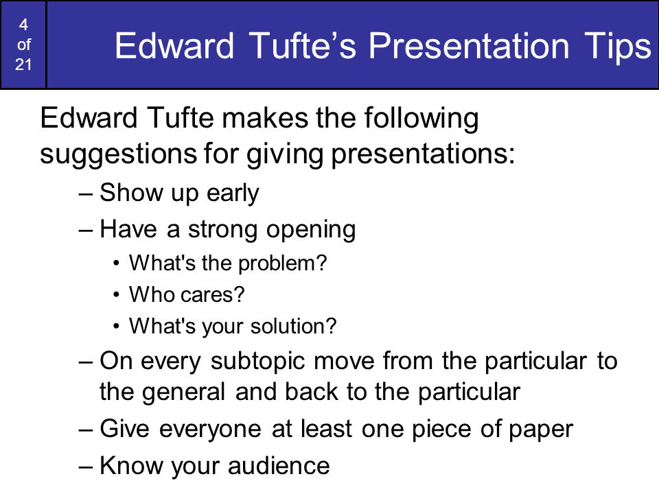 3 of 21 Presentation PMI Let's do a quick PMI on presentations that you have been at –P: What things have people done in presentations that have worked well.