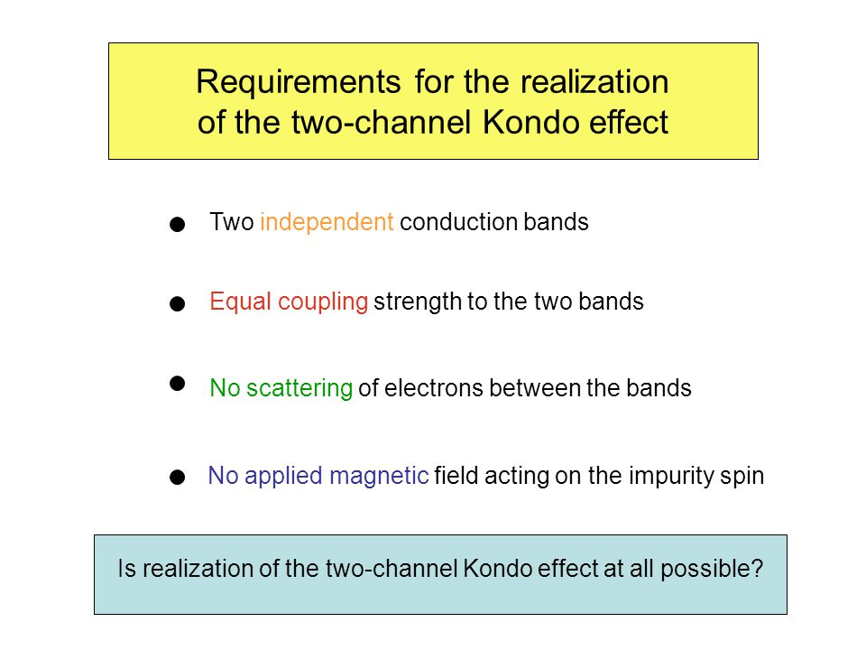 Requirements for the realization of the two-channel Kondo effect No scattering of electrons between the bands Two independent conduction bands Equal coupling strength to the two bands No applied magnetic field acting on the impurity spin Is realization of the two-channel Kondo effect at all possible