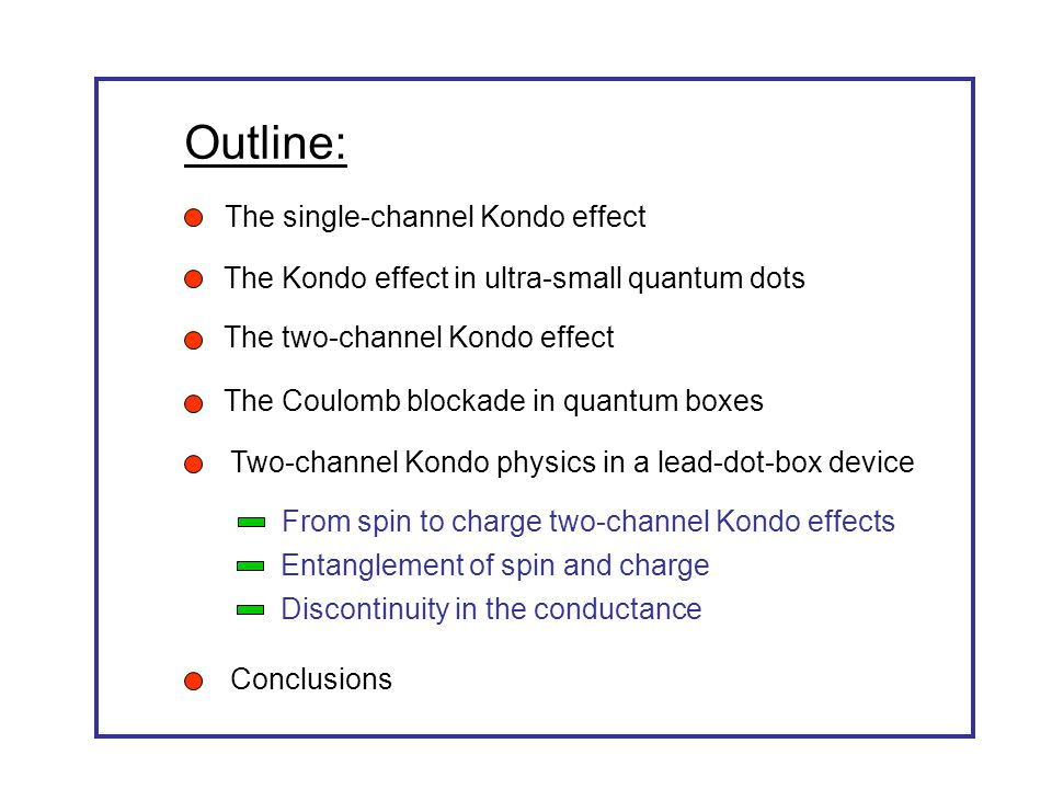 Outline: The single-channel Kondo effect The Kondo effect in ultra-small quantum dots Two-channel Kondo physics in a lead-dot-box device Conclusions The two-channel Kondo effect The Coulomb blockade in quantum boxes From spin to charge two-channel Kondo effects Entanglement of spin and charge Discontinuity in the conductance