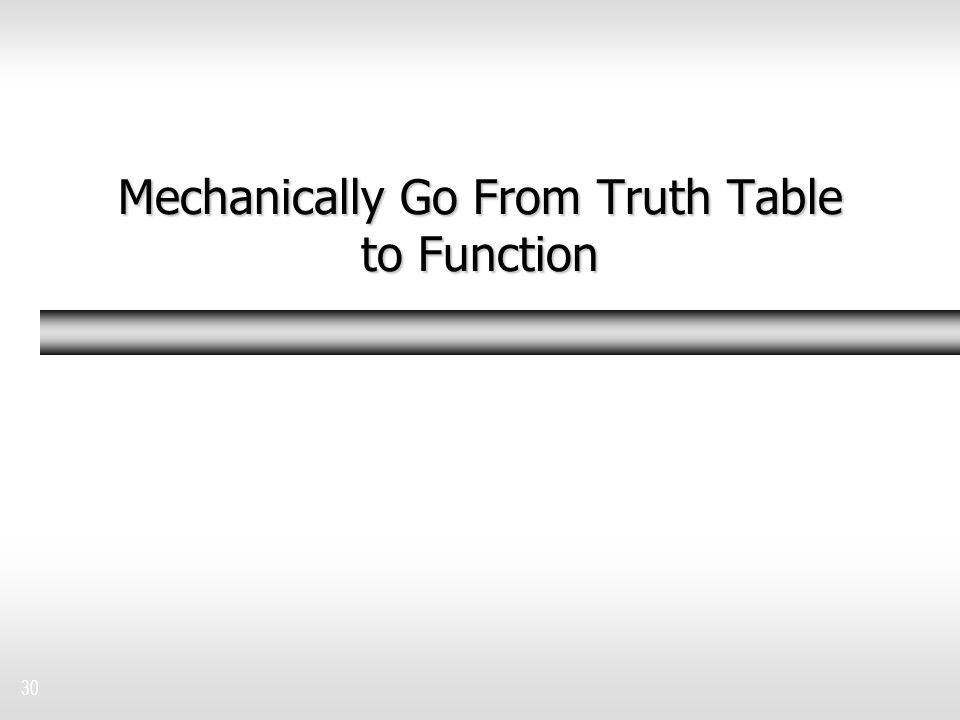 30 Mechanically Go From Truth Table to Function