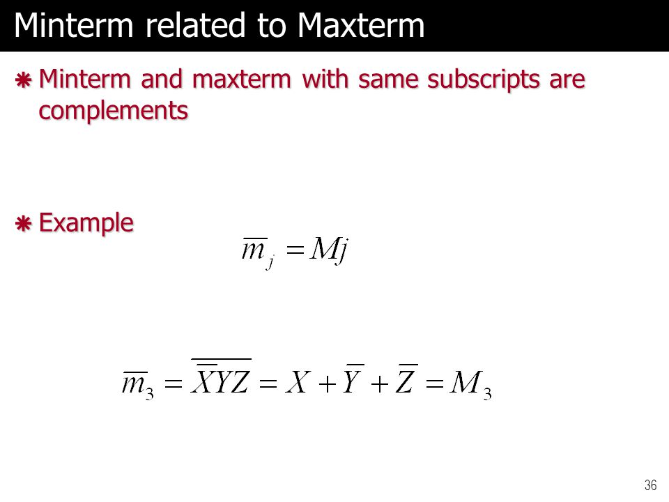 36 Minterm related to Maxterm  Minterm and maxterm with same subscripts are complements  Example