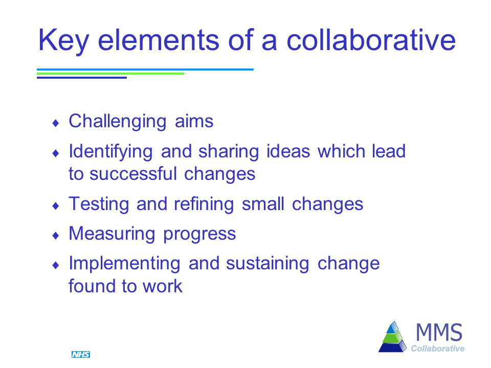 Key elements of a collaborative  Challenging aims  Identifying and sharing ideas which lead to successful changes  Testing and refining small changes  Measuring progress  Implementing and sustaining change found to work