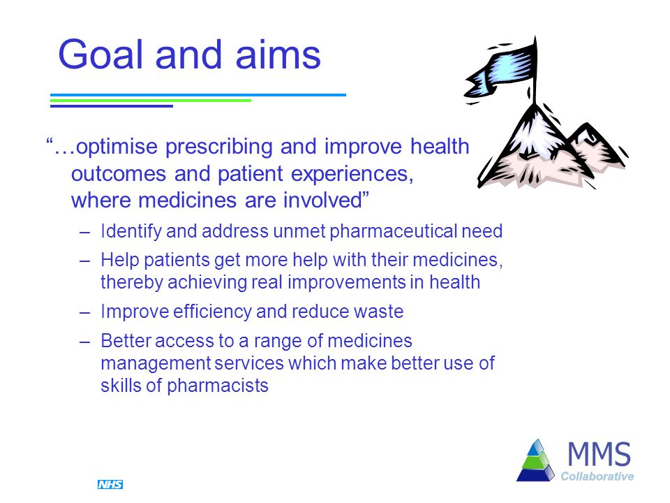 Goal and aims …optimise prescribing and improve health outcomes and patient experiences, where medicines are involved –Identify and address unmet pharmaceutical need –Help patients get more help with their medicines, thereby achieving real improvements in health –Improve efficiency and reduce waste –Better access to a range of medicines management services which make better use of skills of pharmacists