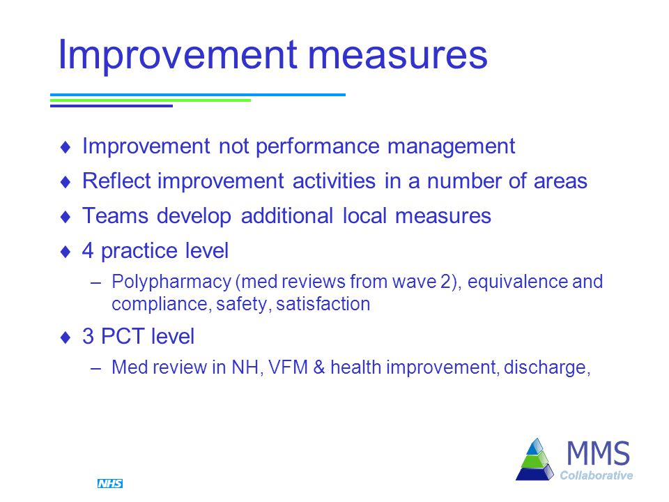 Improvement measures  Improvement not performance management  Reflect improvement activities in a number of areas  Teams develop additional local measures  4 practice level –Polypharmacy (med reviews from wave 2), equivalence and compliance, safety, satisfaction  3 PCT level –Med review in NH, VFM & health improvement, discharge,