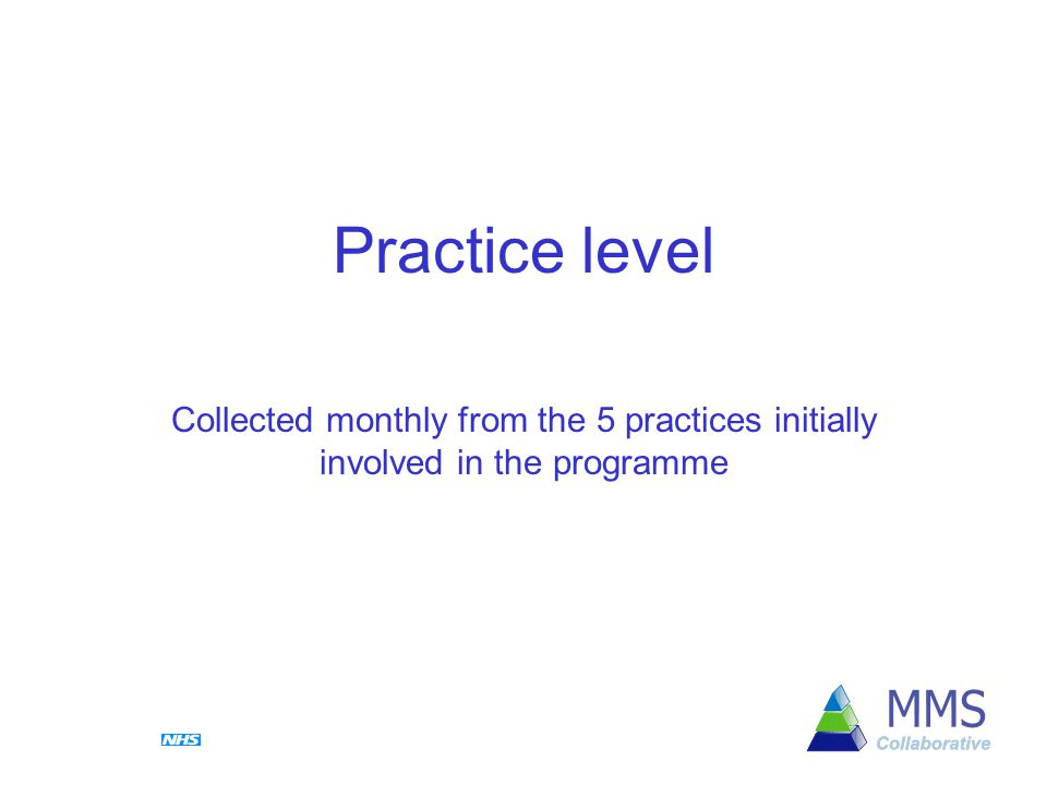 Practice level Collected monthly from the 5 practices initially involved in the programme