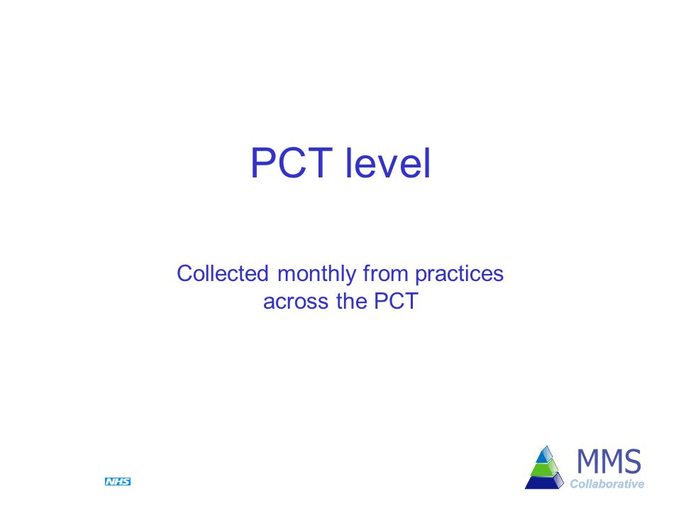 PCT level Collected monthly from practices across the PCT