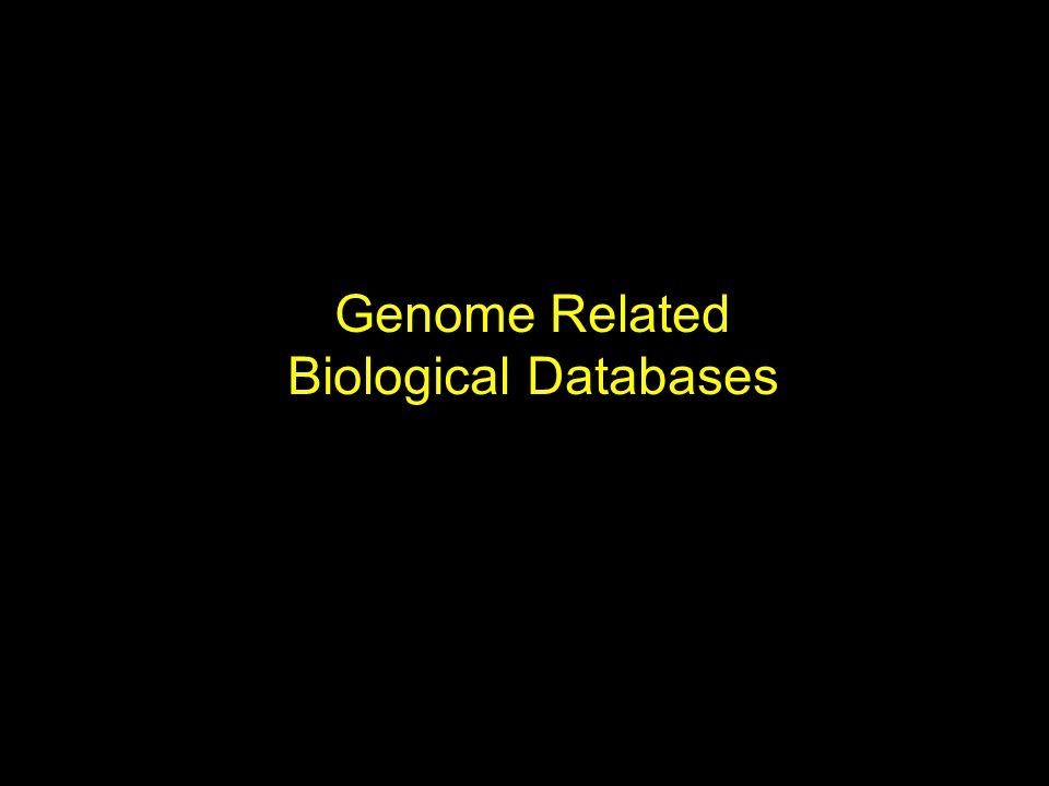 Genome Related Biological Databases