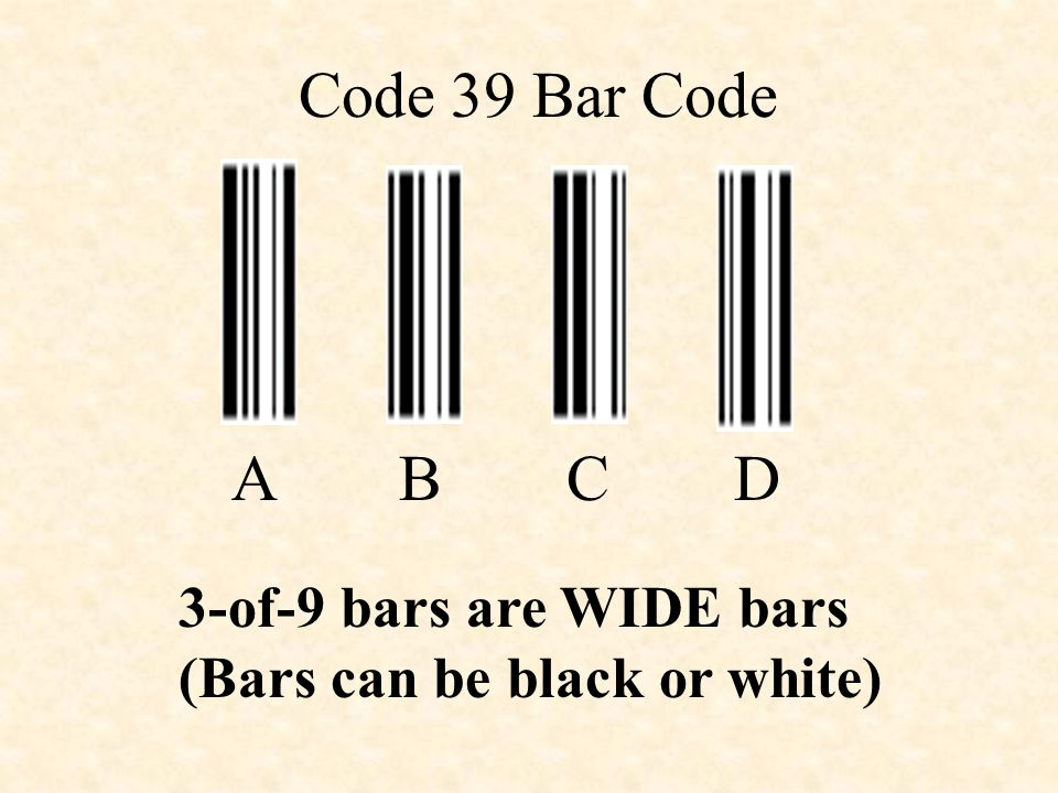 Code 39 Bar Code ABCD 3-of-9 bars are WIDE bars (Bars can be black or white)