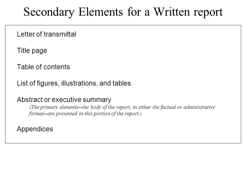justification report with executive summary page transmittal page and table of contents