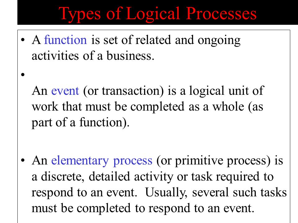 Types of Logical Processes A function is set of related and ongoing activities of a business.