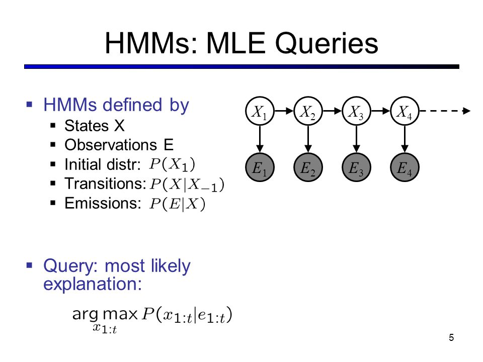 HMMs: MLE Queries  HMMs defined by  States X  Observations E  Initial distr:  Transitions:  Emissions:  Query: most likely explanation: X5X5 X2X2 E1E1 X1X1 X3X3 X4X4 E2E2 E3E3 E4E4 E5E5 5