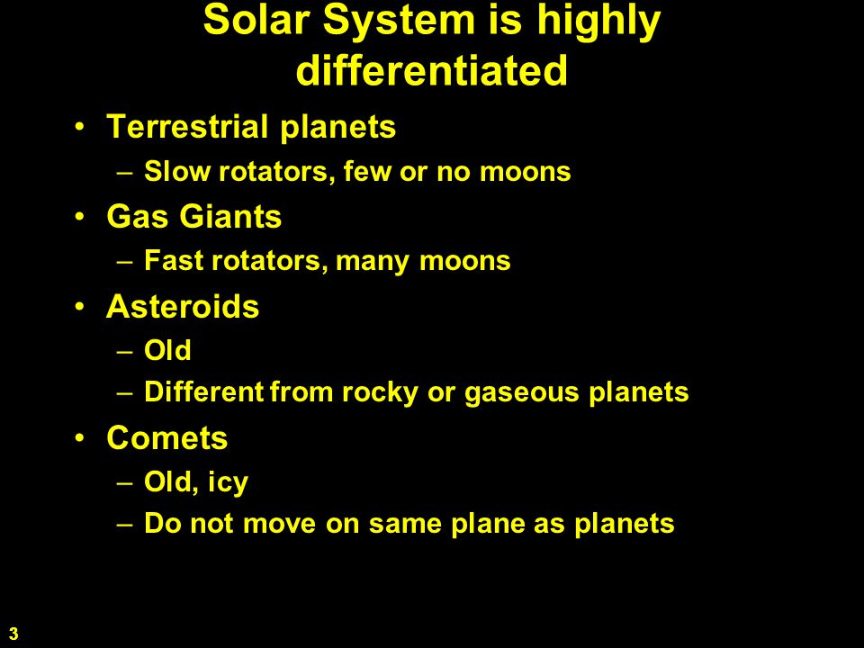 3 Solar System is highly differentiated Terrestrial planets –Slow rotators, few or no moons Gas Giants –Fast rotators, many moons Asteroids –Old –Different from rocky or gaseous planets Comets –Old, icy –Do not move on same plane as planets 3