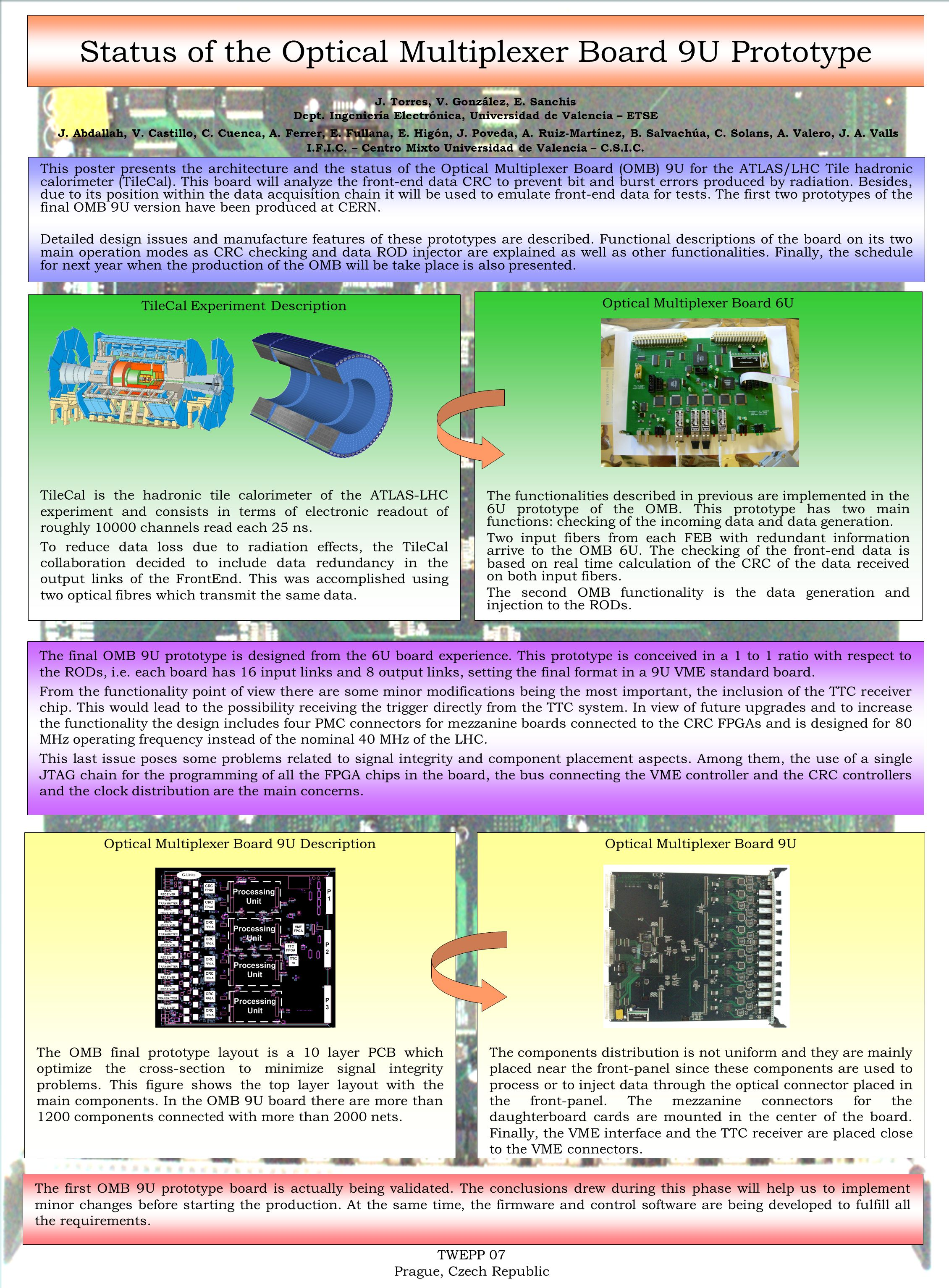 Status of the Optical Multiplexer Board 9U Prototype This poster presents the architecture and the status of the Optical Multiplexer Board (OMB) 9U for the ATLAS/LHC Tile hadronic calorimeter (TileCal).
