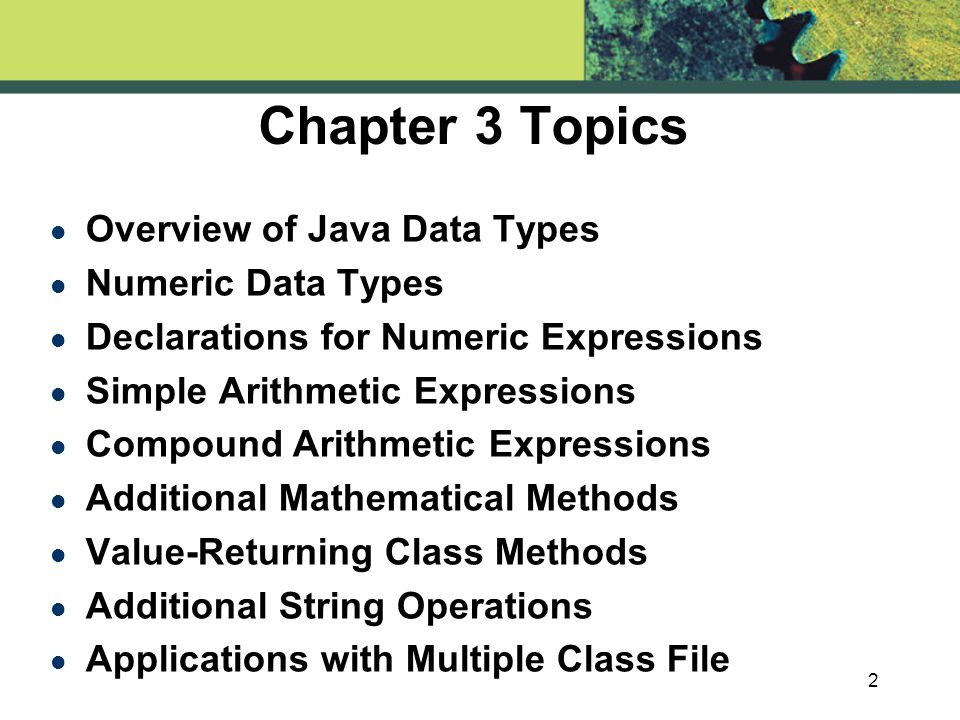 chapter arithmetic expressions chapter topics l overview 2 2 chapter 3 topics