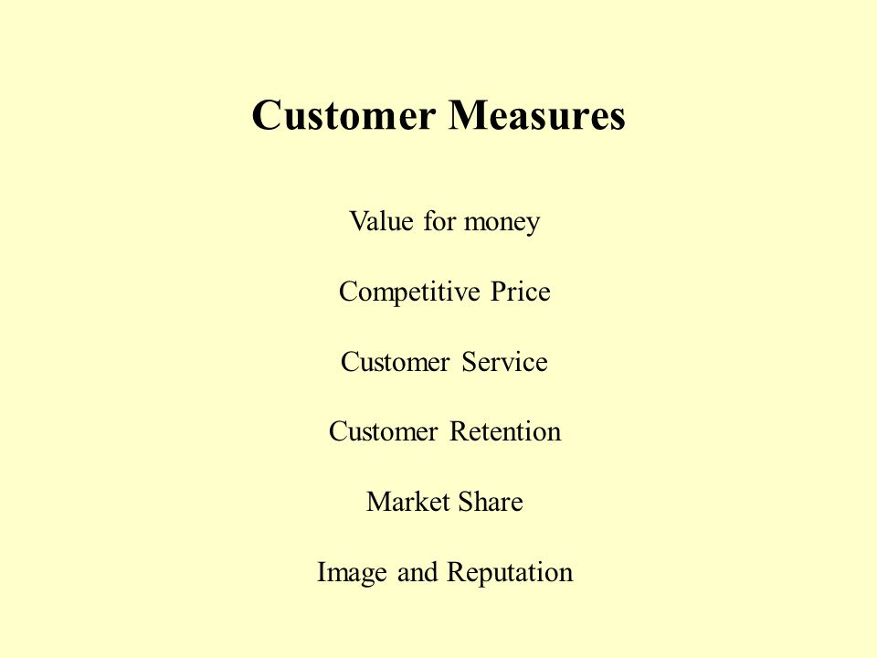Customer Measures Value for money Competitive Price Customer Service Customer Retention Market Share Image and Reputation