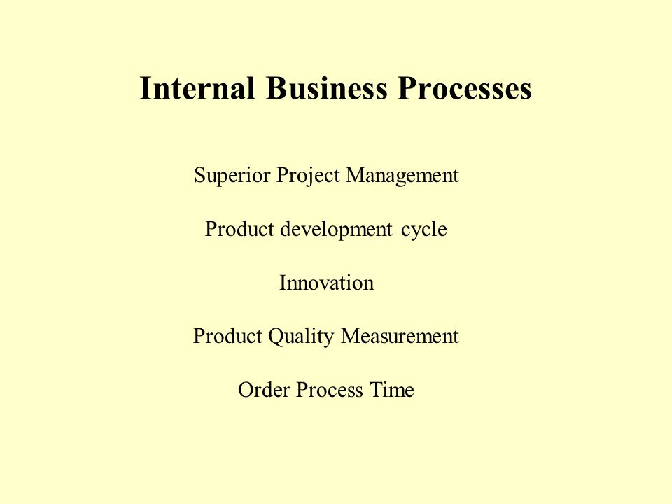Internal Business Processes Superior Project Management Product development cycle Innovation Product Quality Measurement Order Process Time