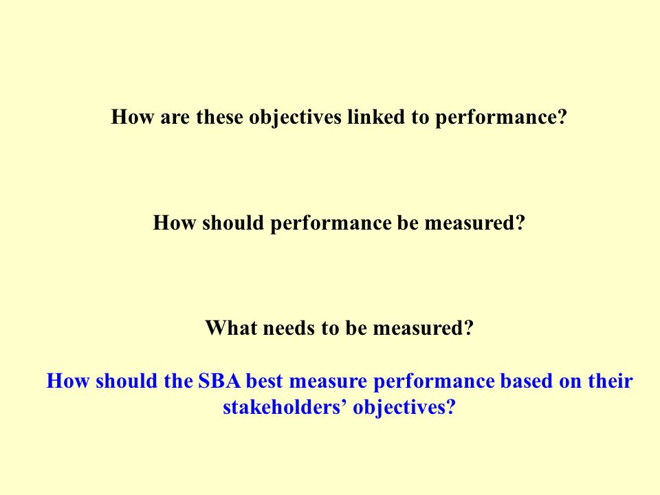 How are these objectives linked to performance. How should performance be measured.