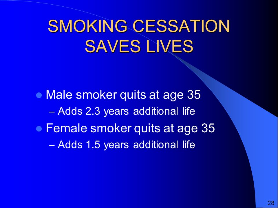 SMOKING CESSATION SAVES LIVES Male smoker quits at age 35 – Adds 2.3 years additional life Female smoker quits at age 35 – Adds 1.5 years additional life 28