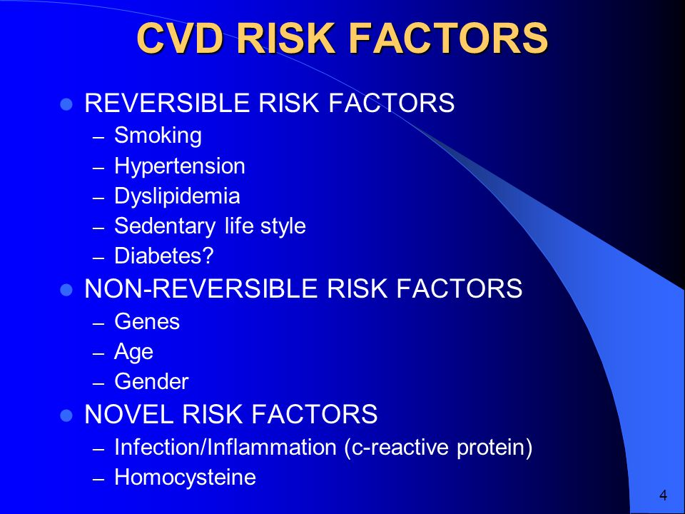 CVD RISK FACTORS REVERSIBLE RISK FACTORS – Smoking – Hypertension – Dyslipidemia – Sedentary life style – Diabetes.