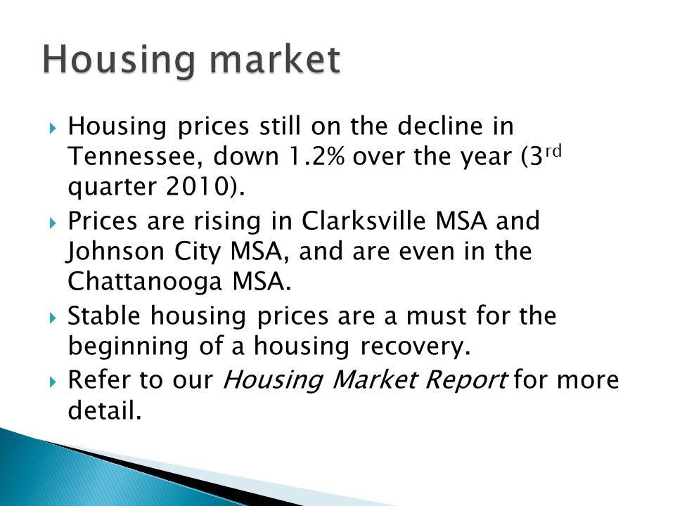  Housing prices still on the decline in Tennessee, down 1.2% over the year (3 rd quarter 2010).