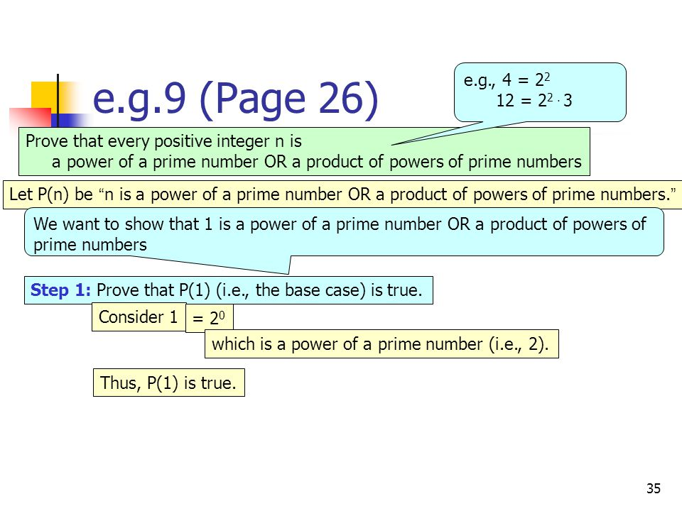 35 e.g.9 (Page 26) Prove that every positive integer n is a power of a prime number OR a product of powers of prime numbers Step 1: Prove that P(1) (i.e., the base case) is true.