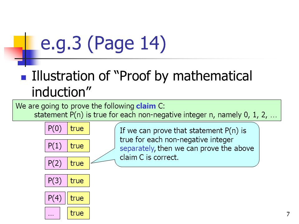 7 e.g.3 (Page 14) Illustration of Proof by mathematical induction We are going to prove the following claim C: statement P(n) is true for each non-negative integer n, namely 0, 1, 2, … P(0)true P(1)true P(2)true P(3)true P(4)true If we can prove that statement P(n) is true for each non-negative integer separately, then we can prove the above claim C is correct.