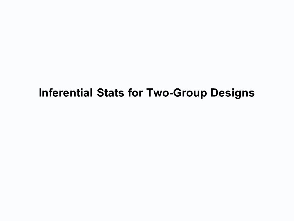Inferential Stats for Two-Group Designs