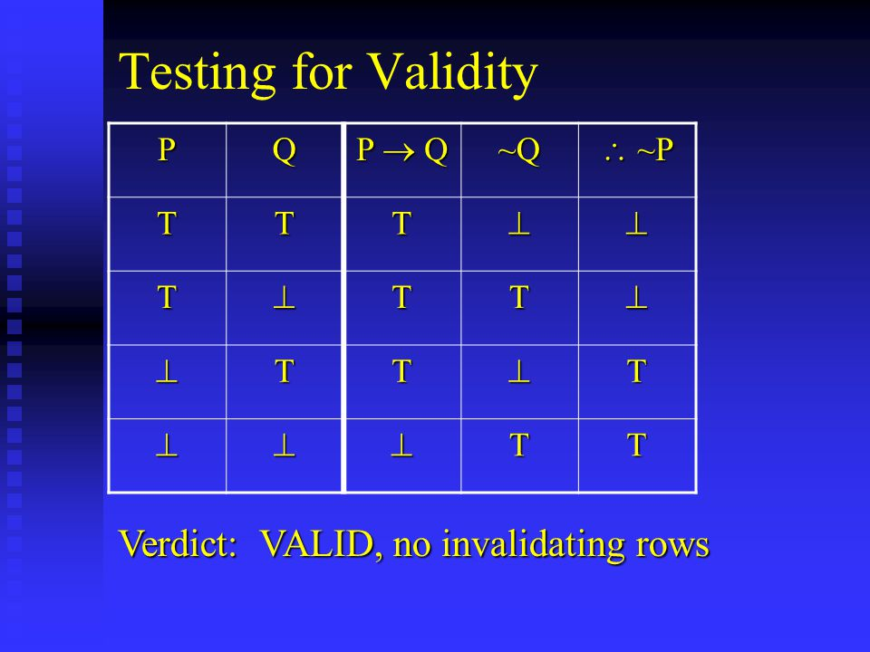 Testing for Validity PQ P  Q ~Q  ~P TTT TTT TTT TT Verdict: VALID, no invalidating rows
