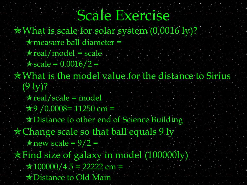 Scale Exercise  What is scale for solar system ( ly).
