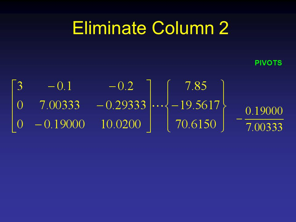 Eliminate Column 2 PIVOTS