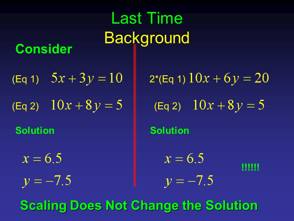 Last Time Background Consider (Eq 1) (Eq 2) Solution 2*(Eq 1) (Eq 2) Solution !!!!!.