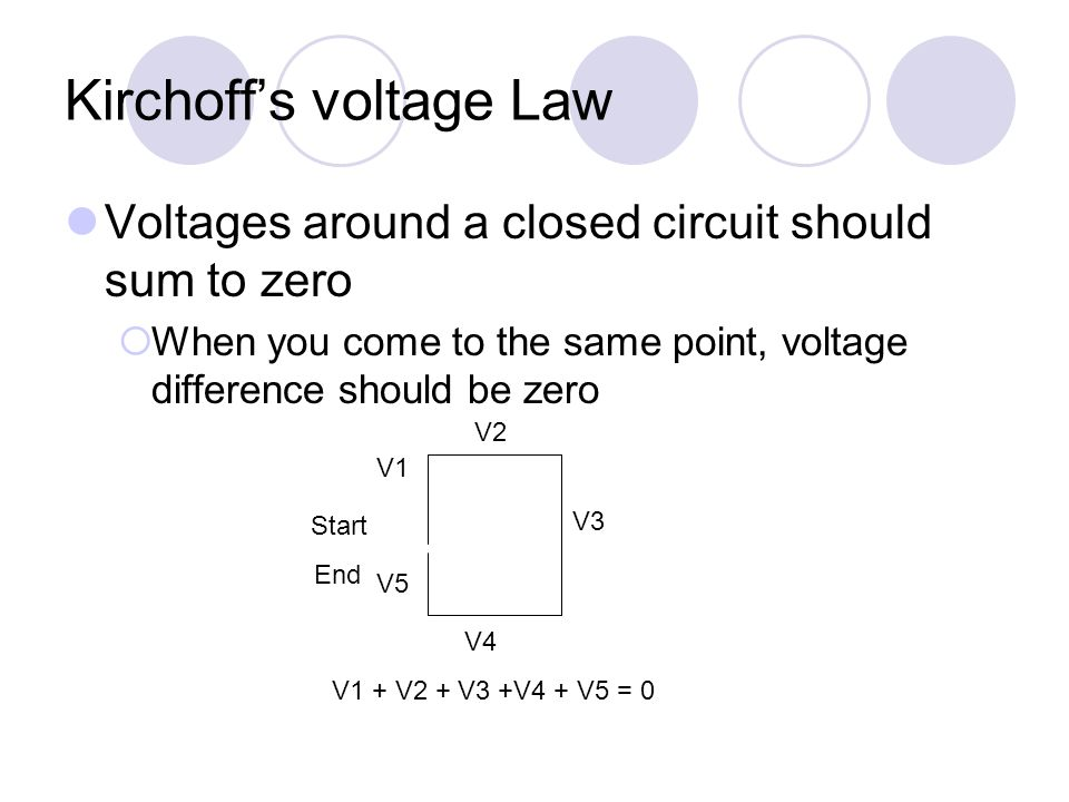Kirchoff's voltage Law Voltages around a closed circuit should sum to zero  When you come to the same point, voltage difference should be zero Start End V1 V2 V3 V4 V5 V1 + V2 + V3 +V4 + V5 = 0