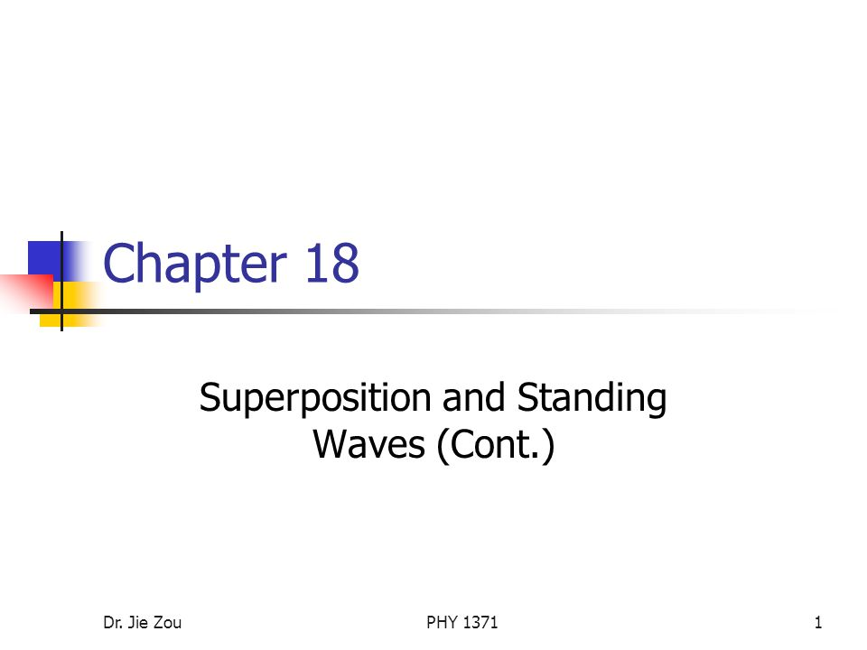 Dr. Jie ZouPHY Chapter 18 Superposition and Standing Waves (Cont.)