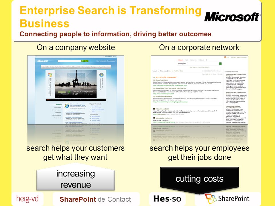 SharePoint de Contact Enterprise Search is Transforming Business Connecting people to information, driving better outcomes On a company websiteOn a corporate network cutting costs increasing revenue search helps your customers get what they want search helps your employees get their jobs done
