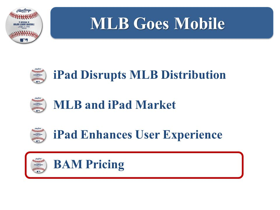 MLB Goes Mobile iPad Disrupts MLB Distribution MLB and iPad Market iPad Enhances User Experience BAM Pricing