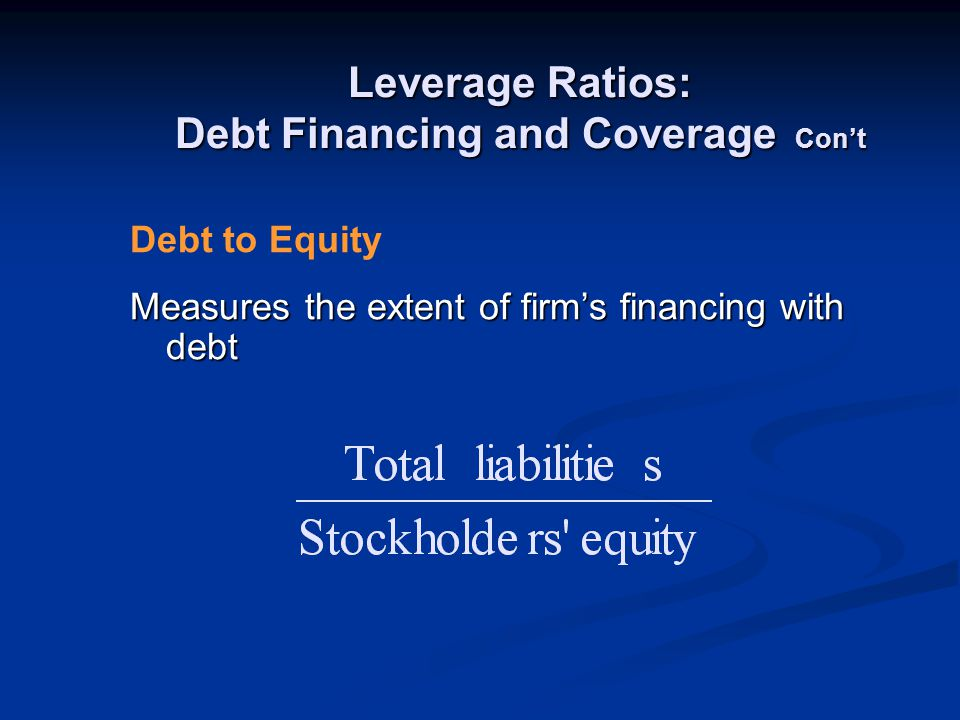 Leverage Ratios: Debt Financing and Coverage Con't Measures the extent of firm's financing with debt Debt to Equity